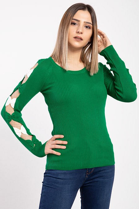 image number  1 products  Women's knitwear, green color, in 9 different colors