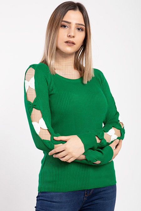 image number  3 products  Women's knitwear, green color, in 9 different colors