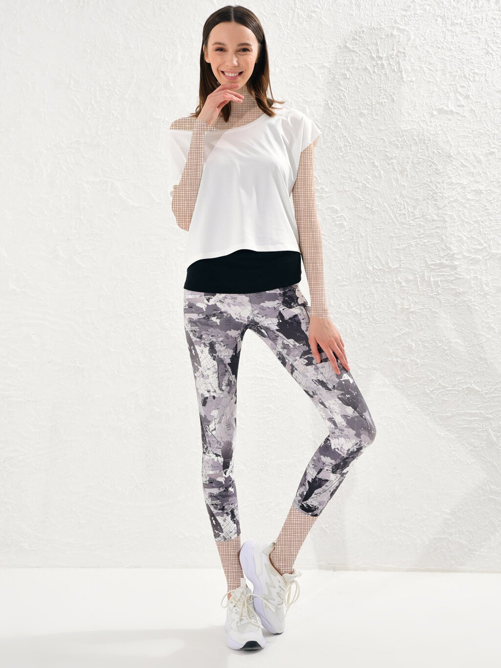 image number  2 products  LC women's support and leg, gray pattern