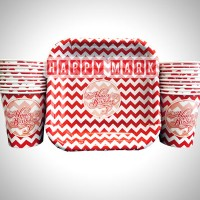 Wholesale buying Pack of 20 Red Zigzag Theme Plates and Glasses Supplier:                                                                                                            happymark