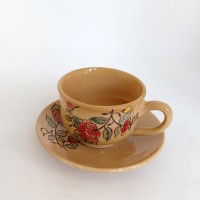 Iranian's  Set of saucer cups with flower design