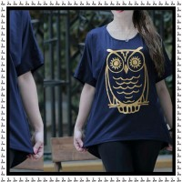 Iranian's  T-shirt with long disc print owl